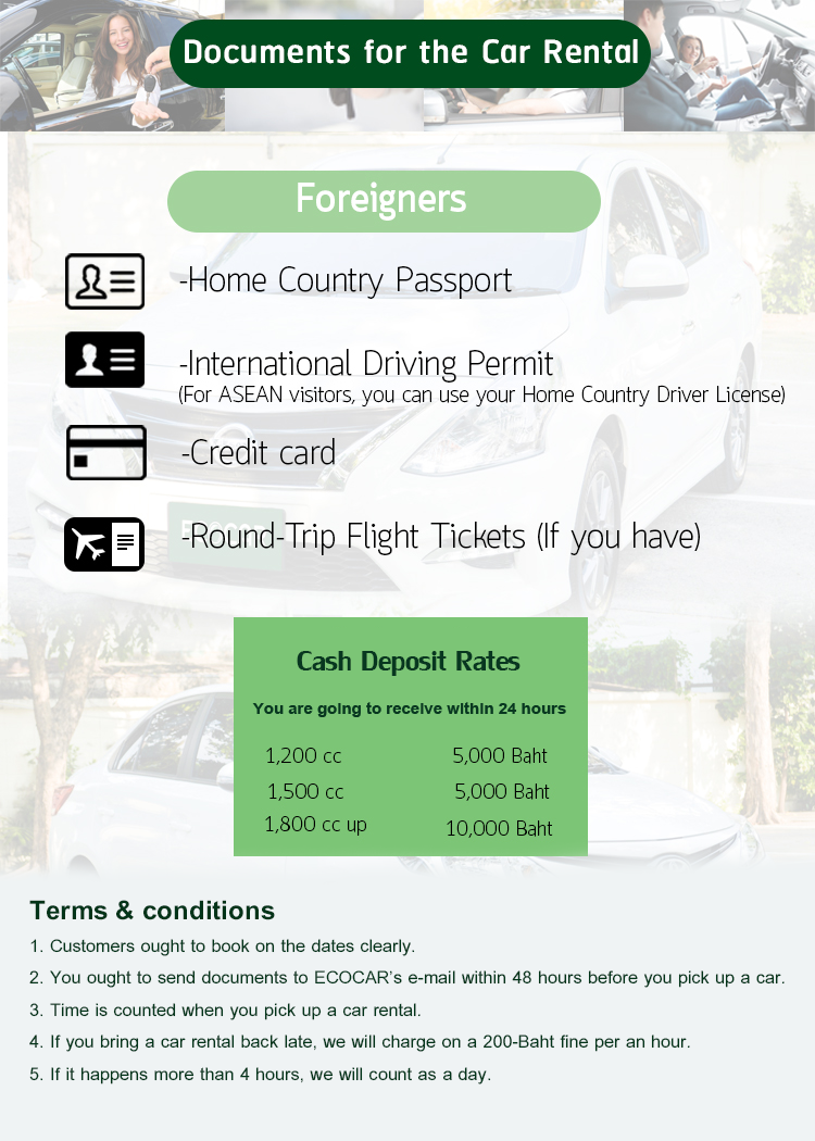 car rental thailand documents
