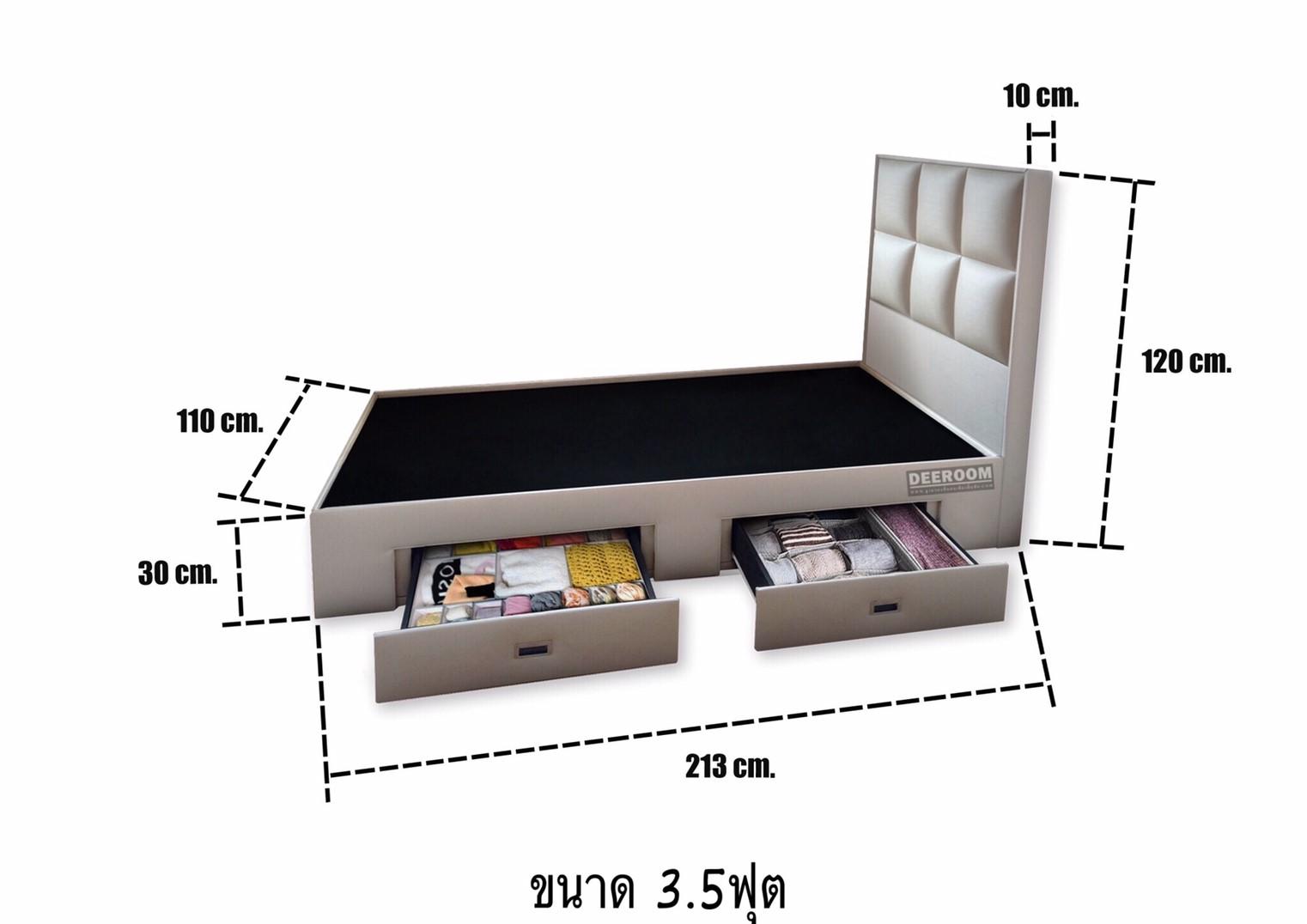 ขนาดฐานรองที่นอนพร้อมหัวเตียง รุ่นMosaic design ขนาด 3.5 ฟุต