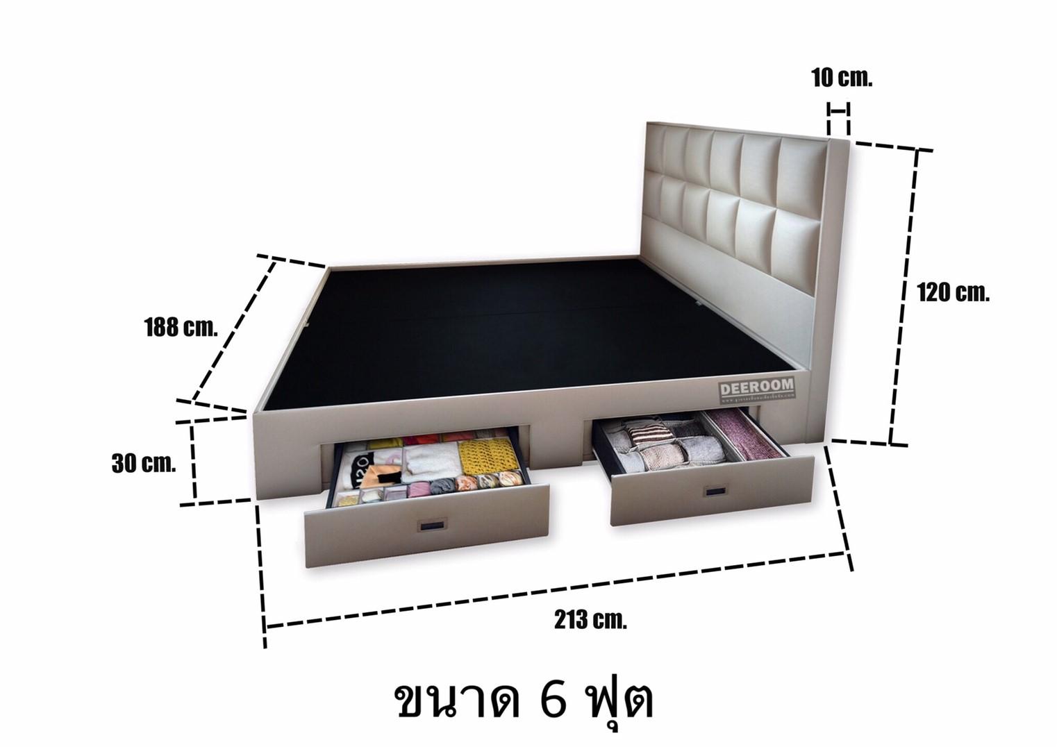 ขนาดฐานรองที่นอนพร้อมหัวเตียง รุ่นMosaic design ขนาด 6 ฟุต