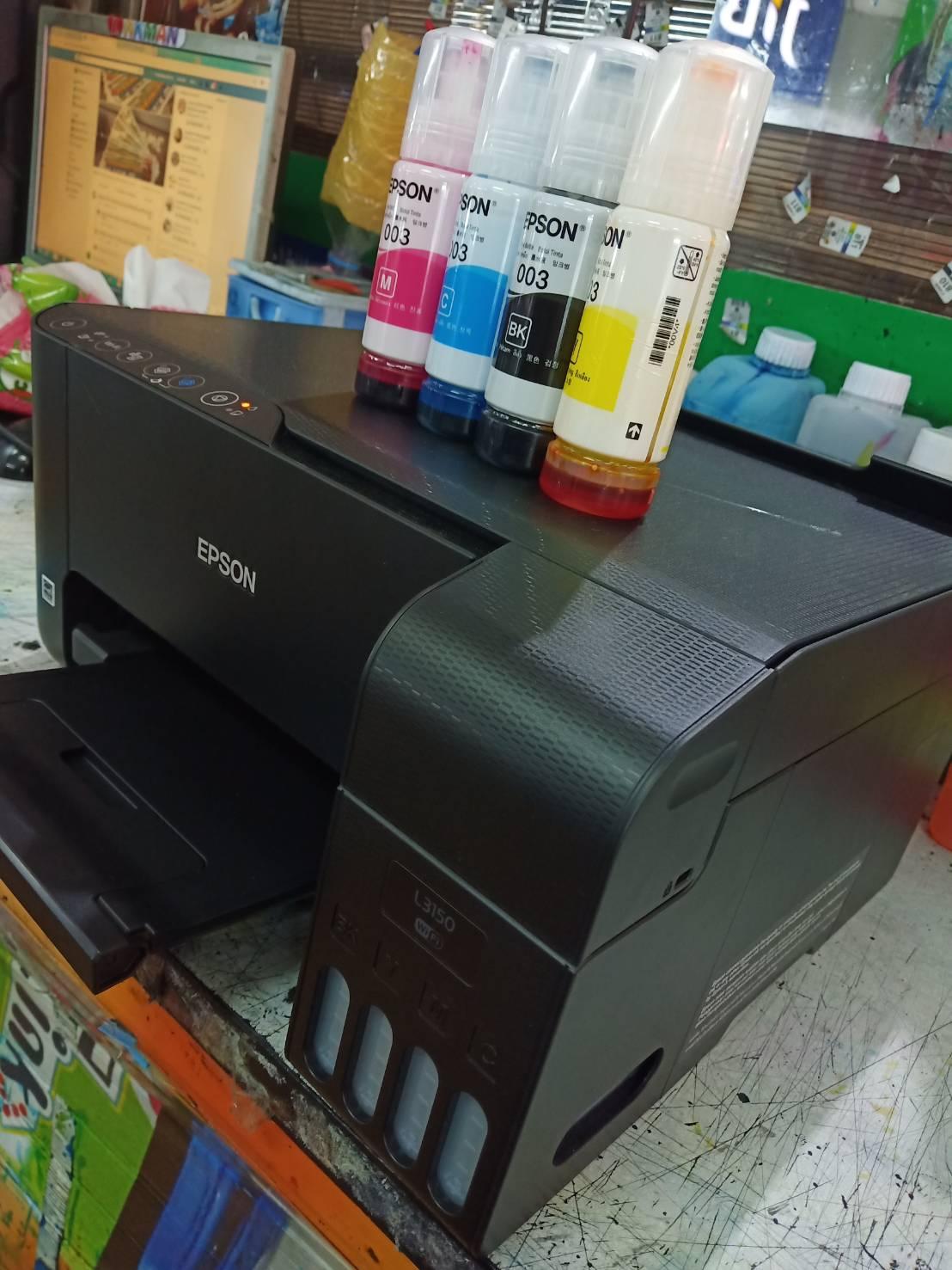 EPSON L3150 มัลติฟังก์ชันอิงค์เจ็ท ปริ๊น สแกน ถ่ายเอกสาร เชื่อมต่อไรสาย  พิมพ์ผ่านมือถือได้โดยตรง อิงค์แทงค์แท้จากโรงงาน หัวพิมพ์ทน รองรับงานหนัก