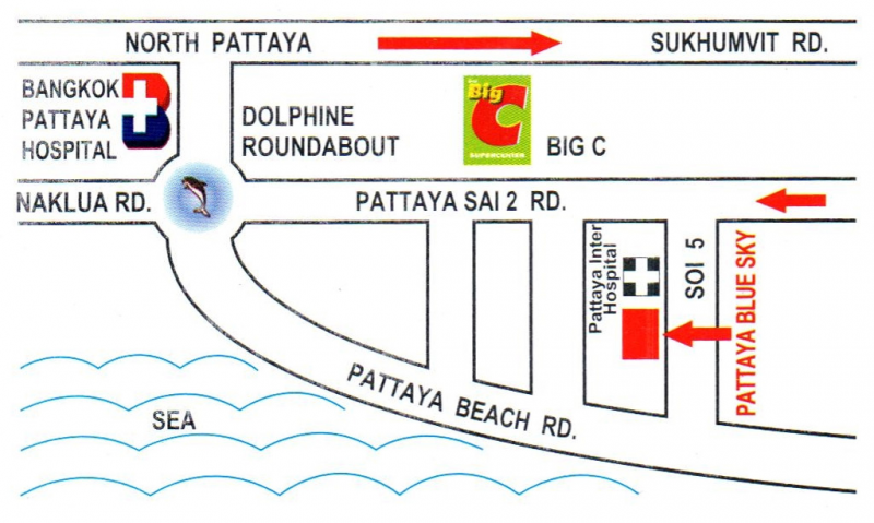 Pattaya Blue Sky Hotel Contact Us And Map - Us hotel map