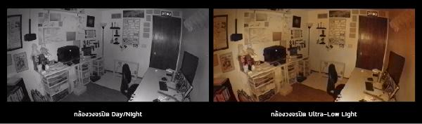 ภาพเปรียบเทียบกล้องวงจรปิด Day/Night กับ Ultra-Low Light
