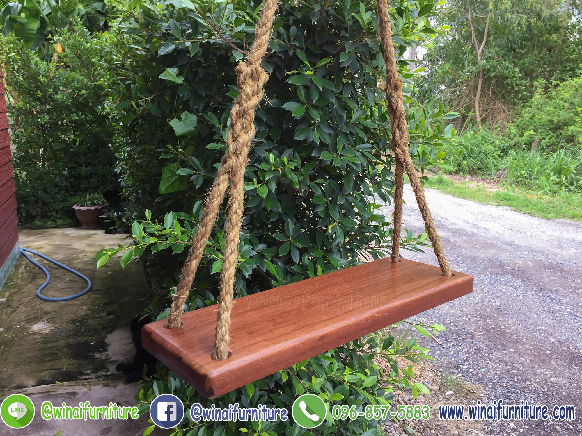 ที่นั่งชิงช้าไม้เต็งแขวนเชือกมะนิลา W-074 (พร้อมส่งฟรี)